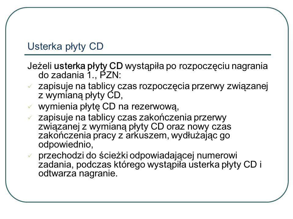 Usterka płyty CD Jeżeli usterka płyty CD wystąpiła po rozpoczęciu nagrania do zadania 1., PZN: zapisuje na tablicy czas rozpoczęcia przerwy związanej z wymianą płyty CD, wymienia płytę CD na rezerwową, zapisuje na tablicy czas zakończenia przerwy związanej z wymianą płyty CD oraz nowy czas zakończenia pracy z arkuszem, wydłużając go odpowiednio, przechodzi do ścieżki odpowiadającej numerowi zadania, podczas którego wystąpiła usterka płyty CD i odtwarza nagranie.