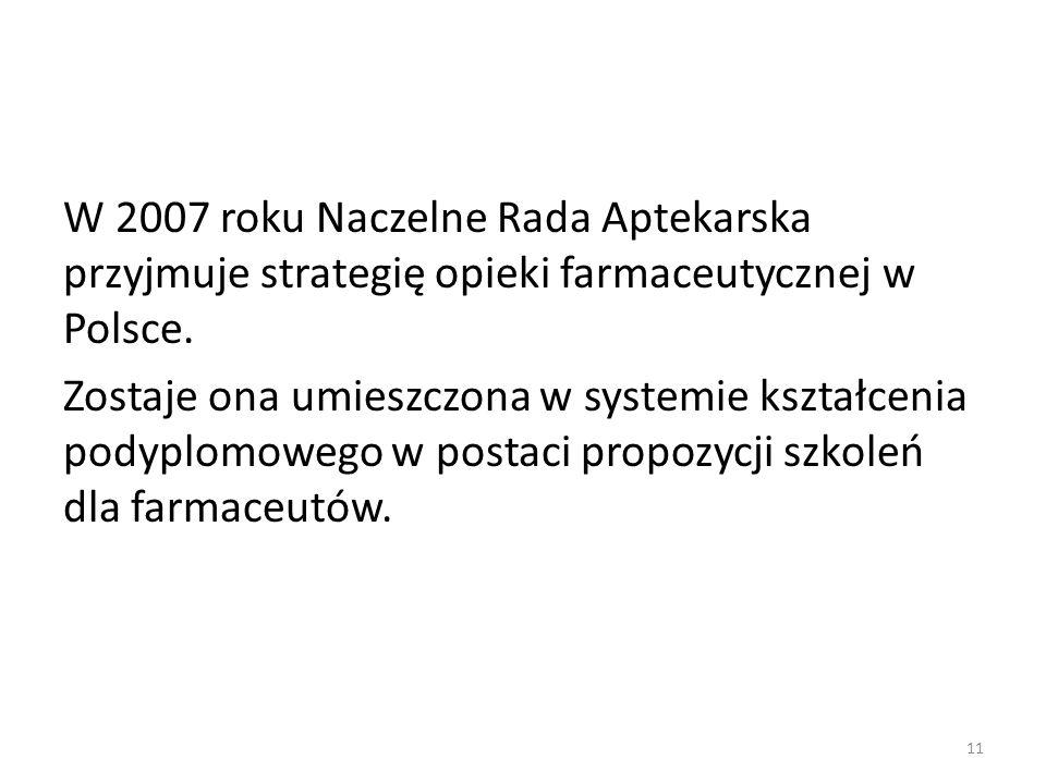 W 2007 roku Naczelne Rada Aptekarska przyjmuje strategię opieki farmaceutycznej w Polsce. Zostaje ona umieszczona w systemie kształcenia podyplomowego
