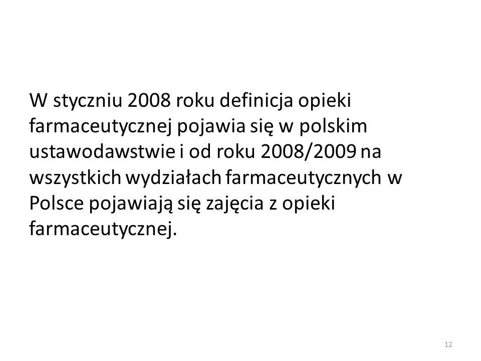 W styczniu 2008 roku definicja opieki farmaceutycznej pojawia się w polskim ustawodawstwie i od roku 2008/2009 na wszystkich wydziałach farmaceutyczny