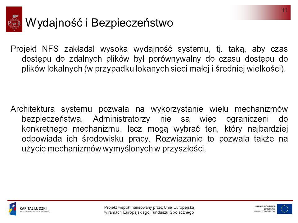 NFS Projekt współfinansowany przez Unię Europejską w ramach Europejskiego Funduszu Społecznego 11 Wydajność i Bezpieczeństwo Projekt NFS zakładał wysoką wydajność systemu, tj.