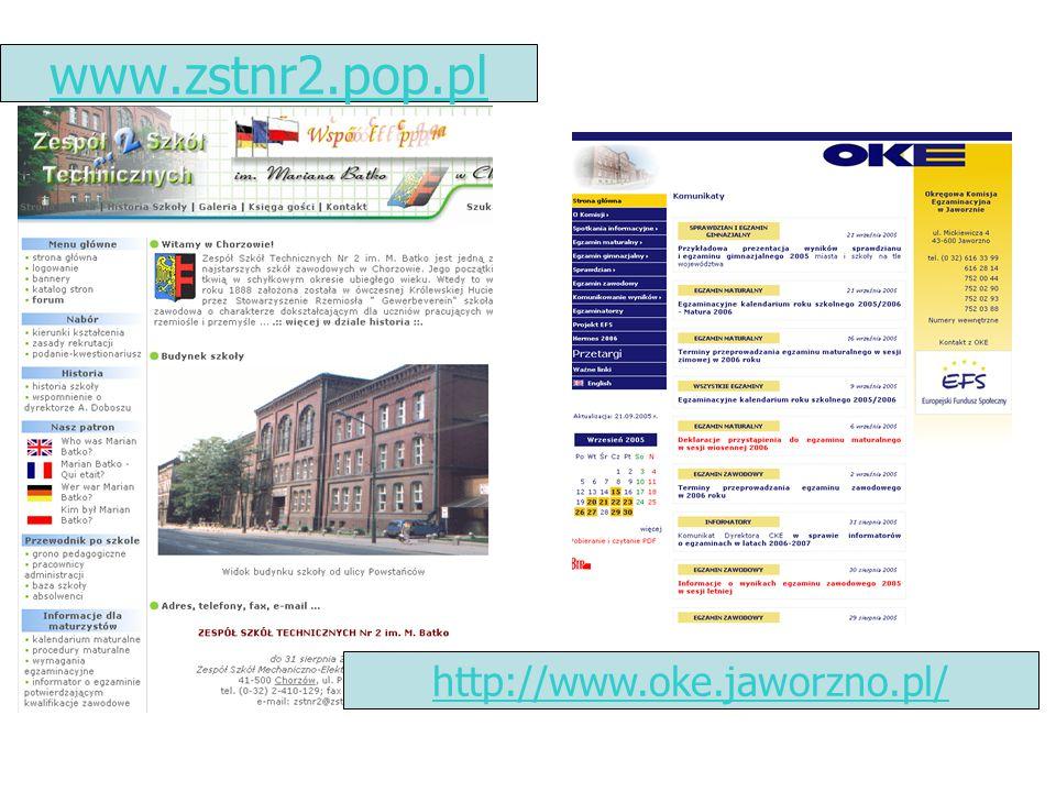 www.zstnr2.pop.pl http://www.oke.jaworzno.pl/