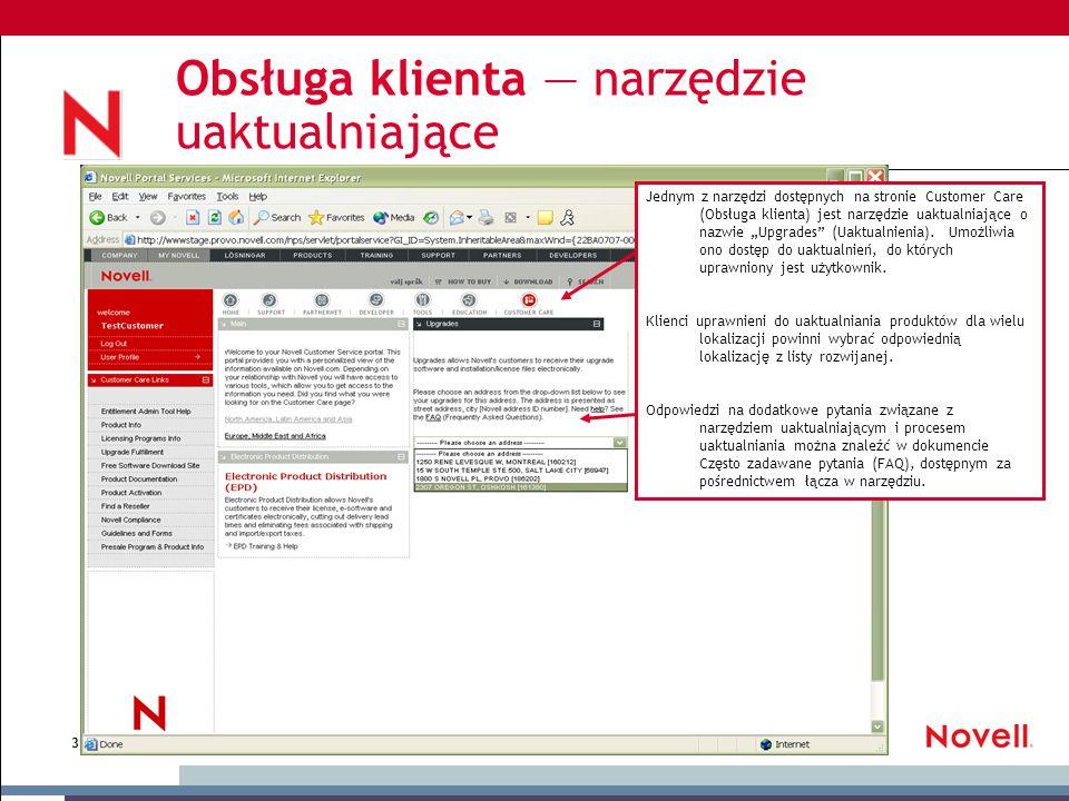 © November 18, 2014 Novell Inc, Confidential & Proprietary 3 Obsługa klienta — narzędzie uaktualniające Jednym z narzędzi dostępnych na stronie Custom