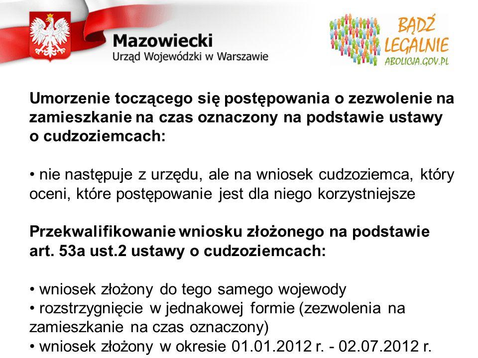 Podsumowanie Do Wojewody Mazowieckiego w ciągu 2 miesięcy wpłynęło 2763 wnioski o abolicję (80 % wszystkich złożonych w kraju wniosków) Przekroczona została liczba łącznie złożonych wniosków podczas abolicji z 2003 roku i 2007 roku (2300) Wojewoda wydał 320 decyzji pozytywnych