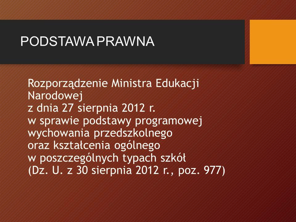 PODSTAWA PRAWNA Rozporządzenie Ministra Edukacji Narodowej z dnia 27 sierpnia 2012 r.