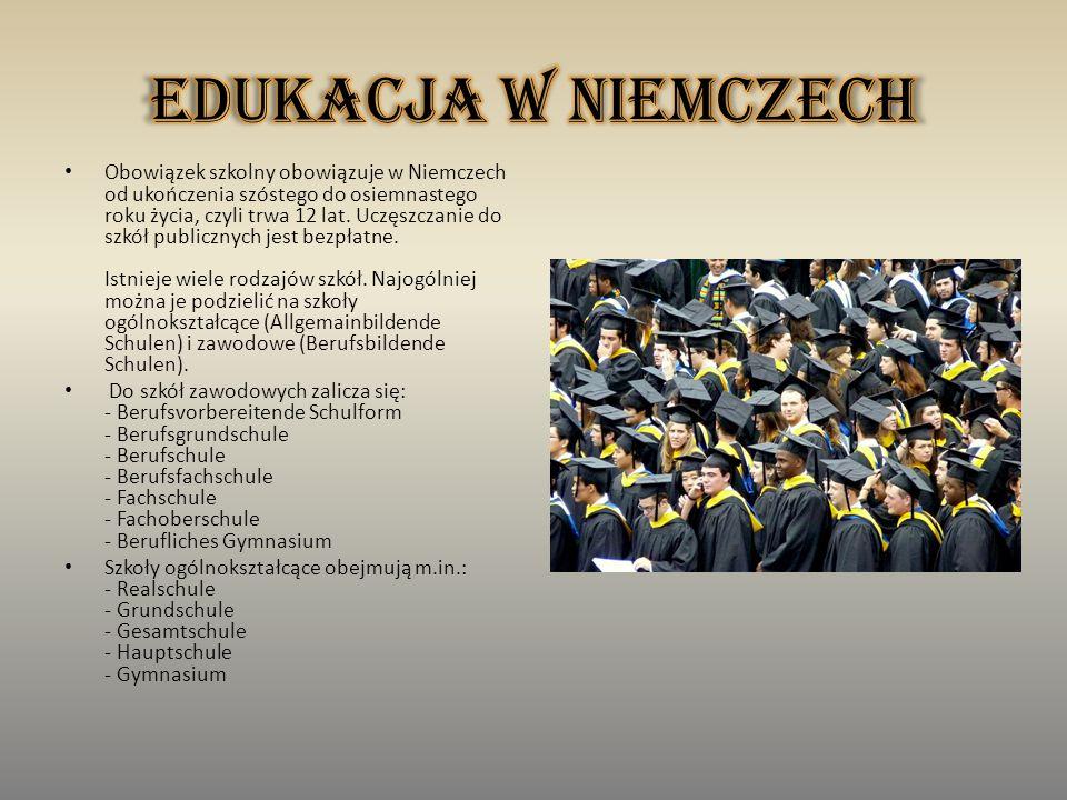Obowiązek szkolny obowiązuje w Niemczech od ukończenia szóstego do osiemnastego roku życia, czyli trwa 12 lat.