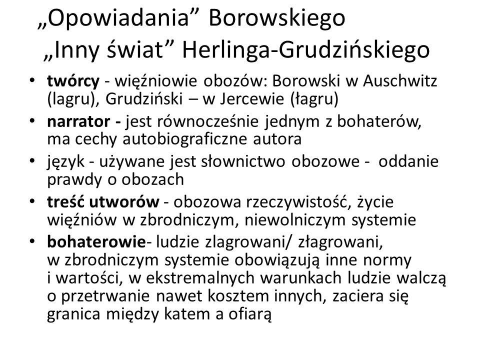 """""""Opowiadania"""" Borowskiego """"Inny świat"""" Herlinga-Grudzińskiego twórcy - więźniowie obozów: Borowski w Auschwitz (lagru), Grudziński – w Jercewie (łagru"""