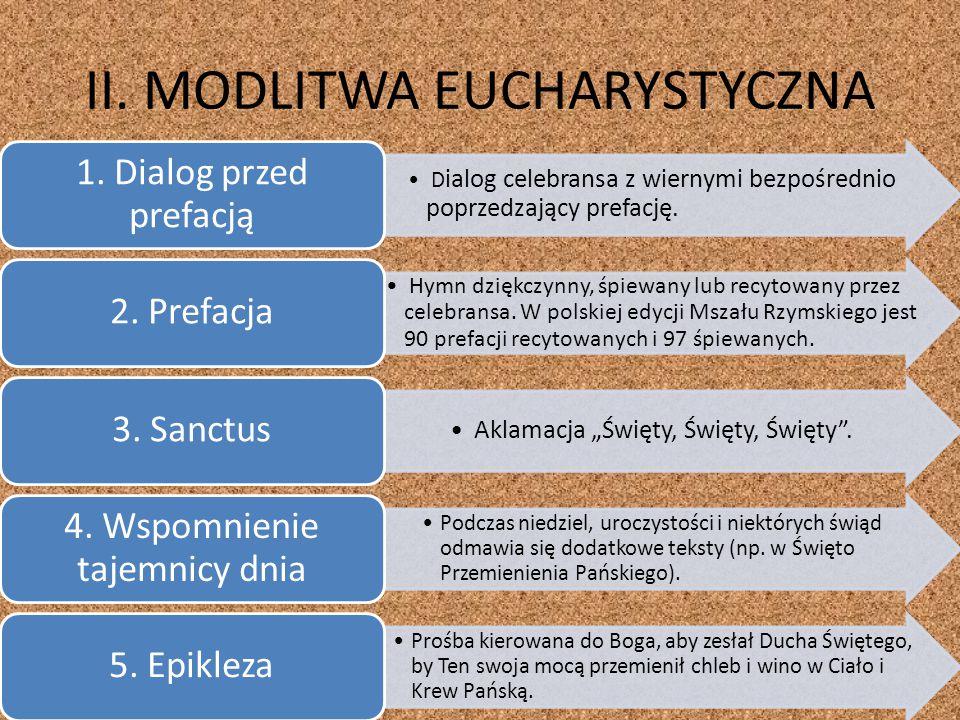 II. MODLITWA EUCHARYSTYCZNA D ialog celebransa z wiernymi bezpośrednio poprzedzający prefację. 1. Dialog przed prefacją Hymn dziękczynny, śpiewany lub