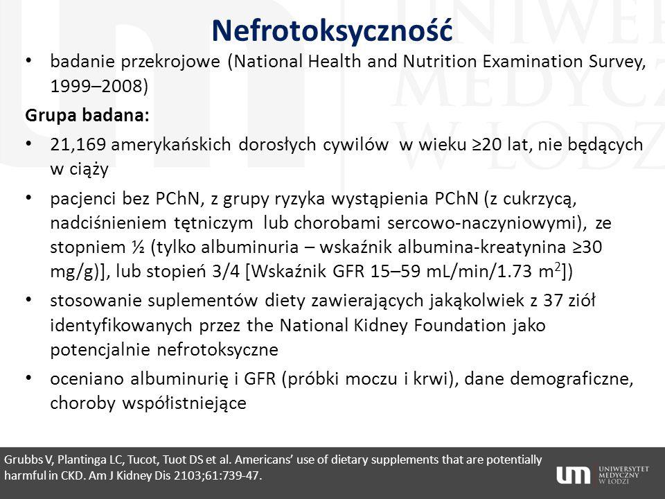 Nefrotoksyczność badanie przekrojowe (National Health and Nutrition Examination Survey, 1999–2008) Grupa badana: 21,169 amerykańskich dorosłych cywiló