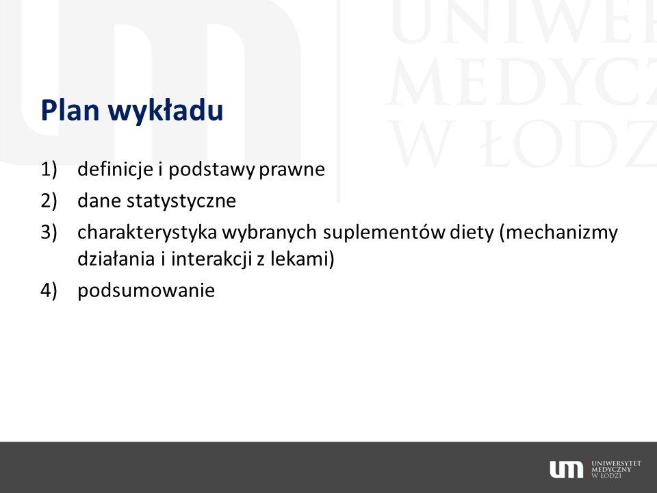 Plan wykładu 1)definicje i podstawy prawne 2)dane statystyczne 3)charakterystyka wybranych suplementów diety (mechanizmy działania i interakcji z leka