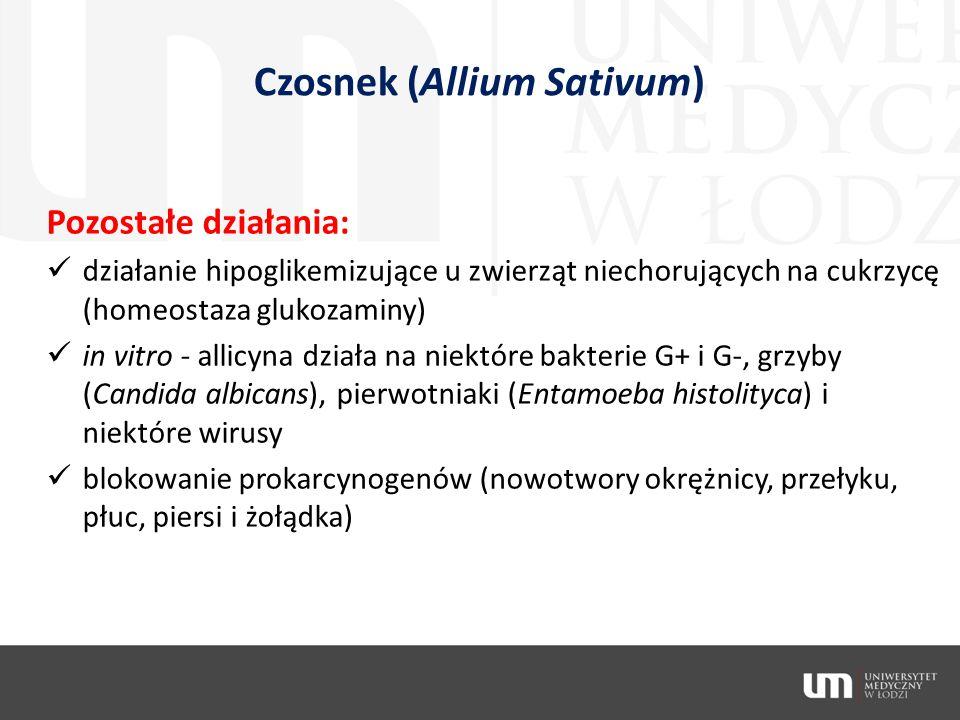 Czosnek (Allium Sativum) Pozostałe działania: działanie hipoglikemizujące u zwierząt niechorujących na cukrzycę (homeostaza glukozaminy) in vitro - al