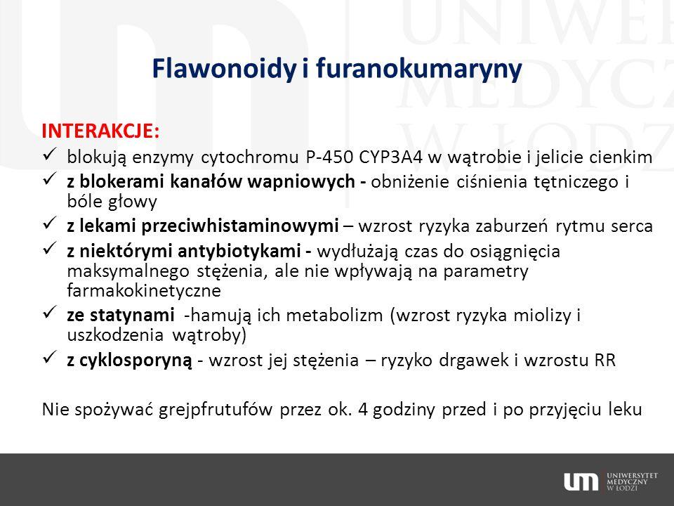 Flawonoidy i furanokumaryny INTERAKCJE: blokują enzymy cytochromu P-450 CYP3A4 w wątrobie i jelicie cienkim z blokerami kanałów wapniowych - obniżenie