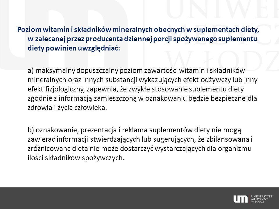 Poziom witamin i składników mineralnych obecnych w suplementach diety, w zalecanej przez producenta dziennej porcji spożywanego suplementu diety powin
