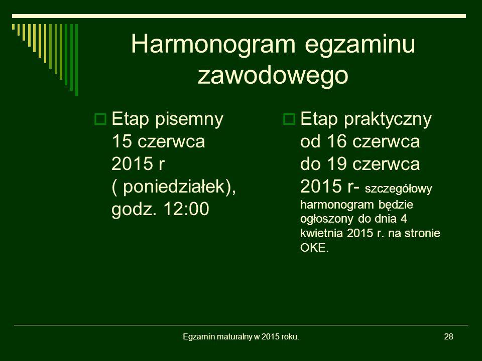 Harmonogram egzaminu zawodowego  Etap pisemny 15 czerwca 2015 r ( poniedziałek), godz. 12:00  Etap praktyczny od 16 czerwca do 19 czerwca 2015 r- sz