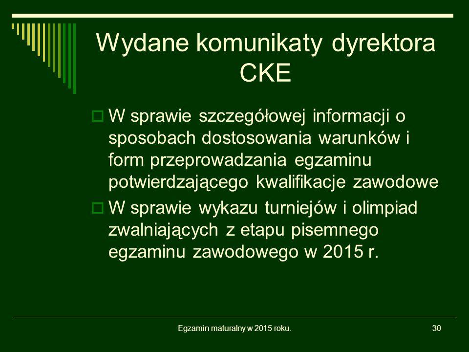 Wydane komunikaty dyrektora CKE  W sprawie szczegółowej informacji o sposobach dostosowania warunków i form przeprowadzania egzaminu potwierdzającego