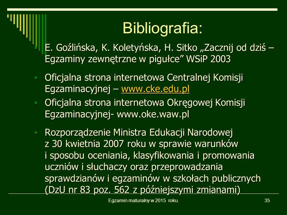 """Egzamin maturalny w 2015 roku.35 Bibliografia:  E. Goźlińska, K. Koletyńska, H. Sitko """"Zacznij od dziś – Egzaminy zewnętrzne w pigułce"""" WSiP 2003  O"""