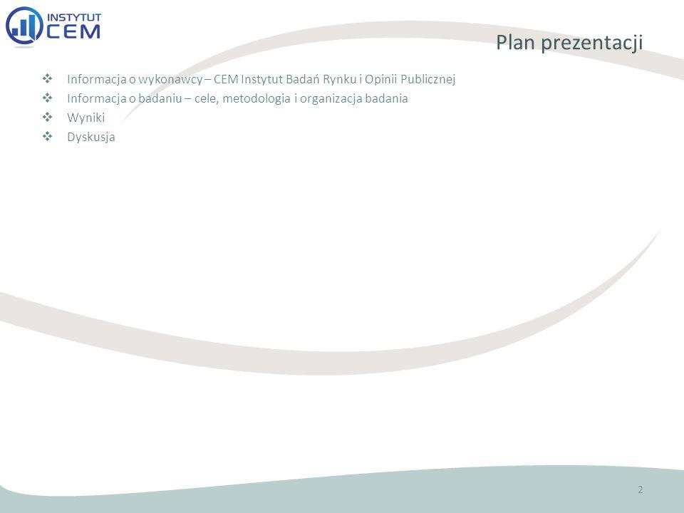 Plan prezentacji  Informacja o wykonawcy – CEM Instytut Badań Rynku i Opinii Publicznej  Informacja o badaniu – cele, metodologia i organizacja badania  Wyniki  Dyskusja 2