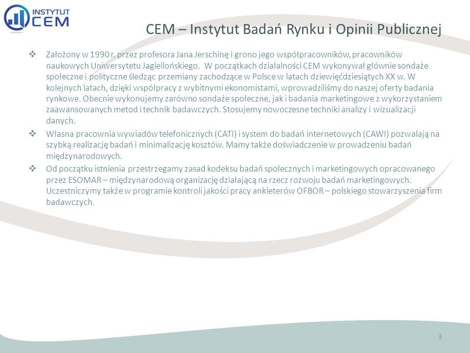 CEM – Instytut Badań Rynku i Opinii Publicznej  Założony w 1990 r.