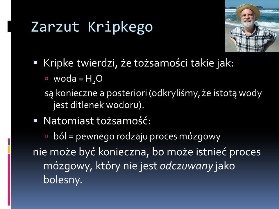 Zarzut Kripkego  Kripke twierdzi, że tożsamości takie jak:  woda = H 2 O są konieczne a posteriori (odkryliśmy, że istotą wody jest ditlenek wodoru).