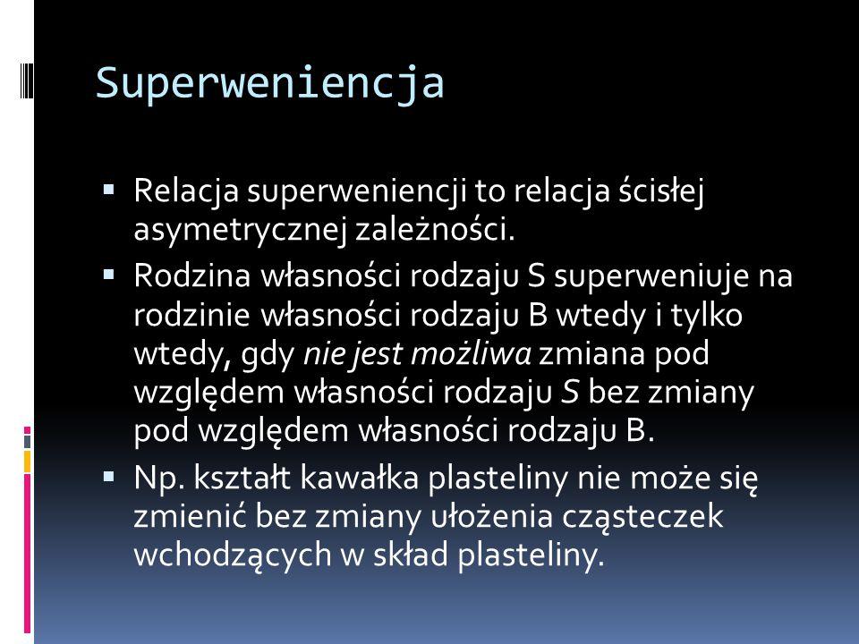 Superweniencja  Relacja superweniencji to relacja ścisłej asymetrycznej zależności.