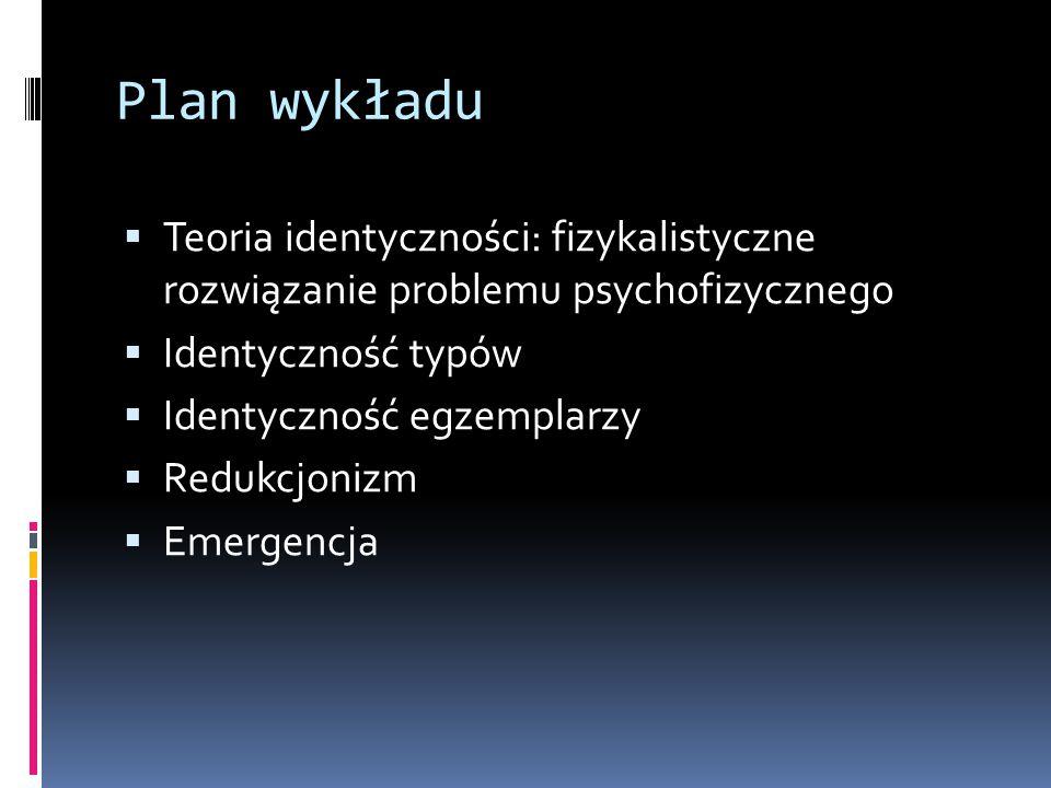 Teoria identyczności a fizykalizm  Większość zwolenników teorii identyczności to fizykaliści.