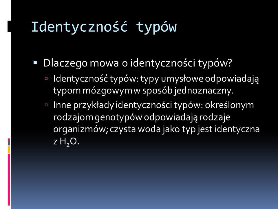 Identyczność typów  Dlaczego mowa o identyczności typów.