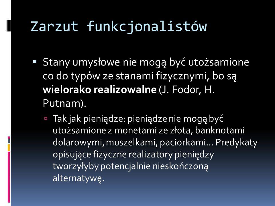 Zarzut funkcjonalistów  Stany umysłowe nie mogą być utożsamione co do typów ze stanami fizycznymi, bo są wielorako realizowalne (J.