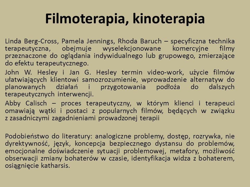 Filmoterapia, kinoterapia Linda Berg-Cross, Pamela Jennings, Rhoda Baruch – specyficzna technika terapeutyczna, obejmuje wyselekcjonowane komercyjne filmy przeznaczone do oglądania indywidualnego lub grupowego, zmierzające do efektu terapeutycznego.