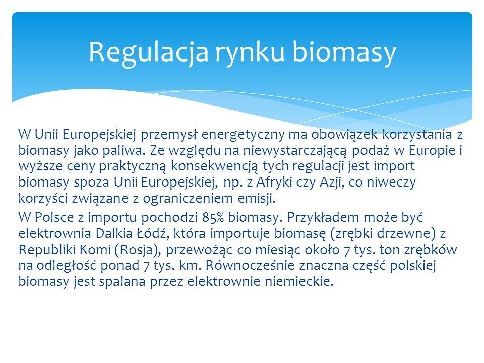 W Unii Europejskiej przemysł energetyczny ma obowiązek korzystania z biomasy jako paliwa. Ze względu na niewystarczającą podaż w Europie i wyższe ceny
