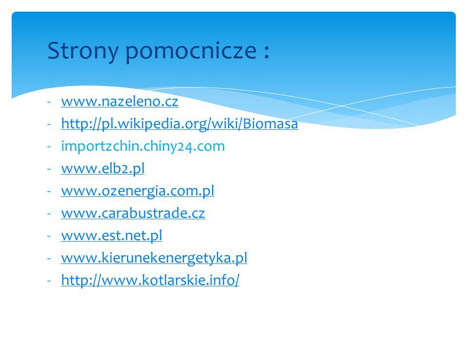 Strony pomocnicze : -www.nazeleno.czwww.nazeleno.cz -http://pl.wikipedia.org/wiki/Biomasahttp://pl.wikipedia.org/wiki/Biomasa -importzchin.chiny24.com