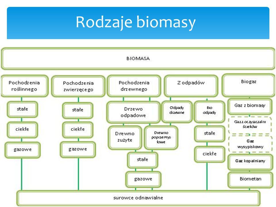 Zalety : Wady: Zalety i wady - pewna dostaw surowca z kraju (w przeciwieństwie do importu ropy i gazu) - możliwość uzyskania dochodu przy nadprodukcji żywności - nowe miejsca pracy i aktywacja lokalnych społeczności (głównie na wsi) - zmniejszenie emisji CO2 z paliw nieodnawialnych, który (w przeciwieństwie do CO2 z biomasy) może zwiększać efekt cieplarniany - decentralizacja produkcji energii (bezpieczeństwo energetyczne) - ryzyko wprowadzenia monokultury w uprawie roślin - spalanie każdych paliw także biopaliw powoduje wydzielanie tlenków azotu (NO x ) - spalanie biomasy zawierającej pestycydy, tworzyw sztuczne czy związki chloropochodne powoduje powstanie związków o toksycznym i rakotwórczym działaniu