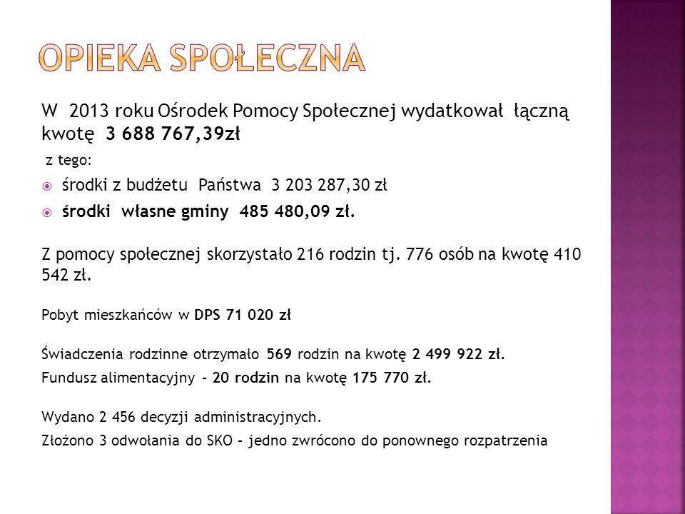 W 2013 roku Ośrodek Pomocy Społecznej wydatkował łączną kwotę 3 688 767,39zł z tego:  środki z budżetu Państwa 3 203 287,30 zł  środki własne gminy 485 480,09 zł.