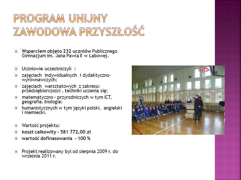  Wsparciem objęto 232 uczniów Publicznego Gimnazjum im.