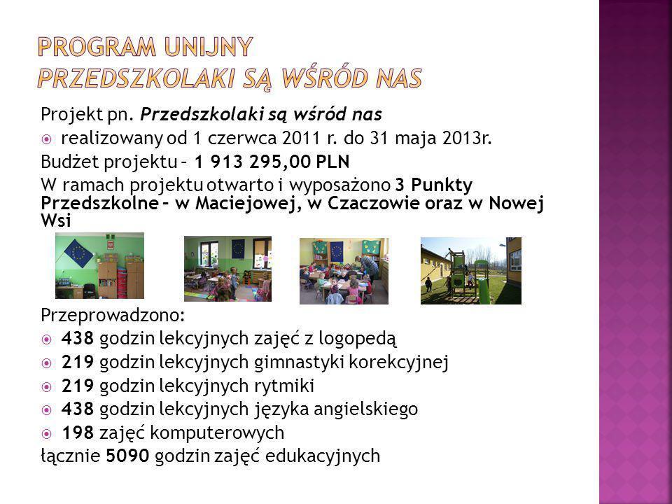 Projekt pn.Przedszkolaki są wśród nas  realizowany od 1 czerwca 2011 r.