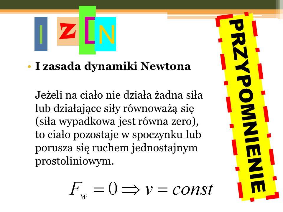 I zasada dynamiki Newtona Jeżeli na ciało nie działa żadna siła lub działające siły równoważą się (siła wypadkowa jest równa zero), to ciało pozostaje