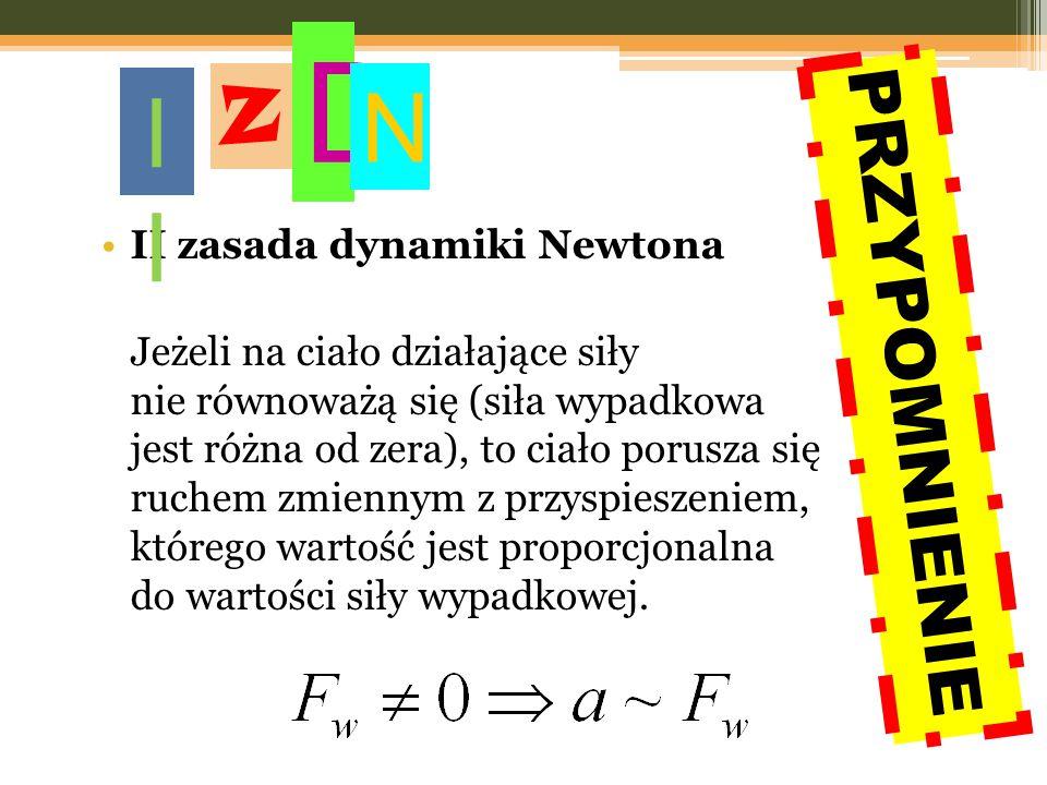 II zasada dynamiki Newtona Jeżeli na ciało działające siły nie równoważą się (siła wypadkowa jest różna od zera), to ciało porusza się ruchem zmiennym