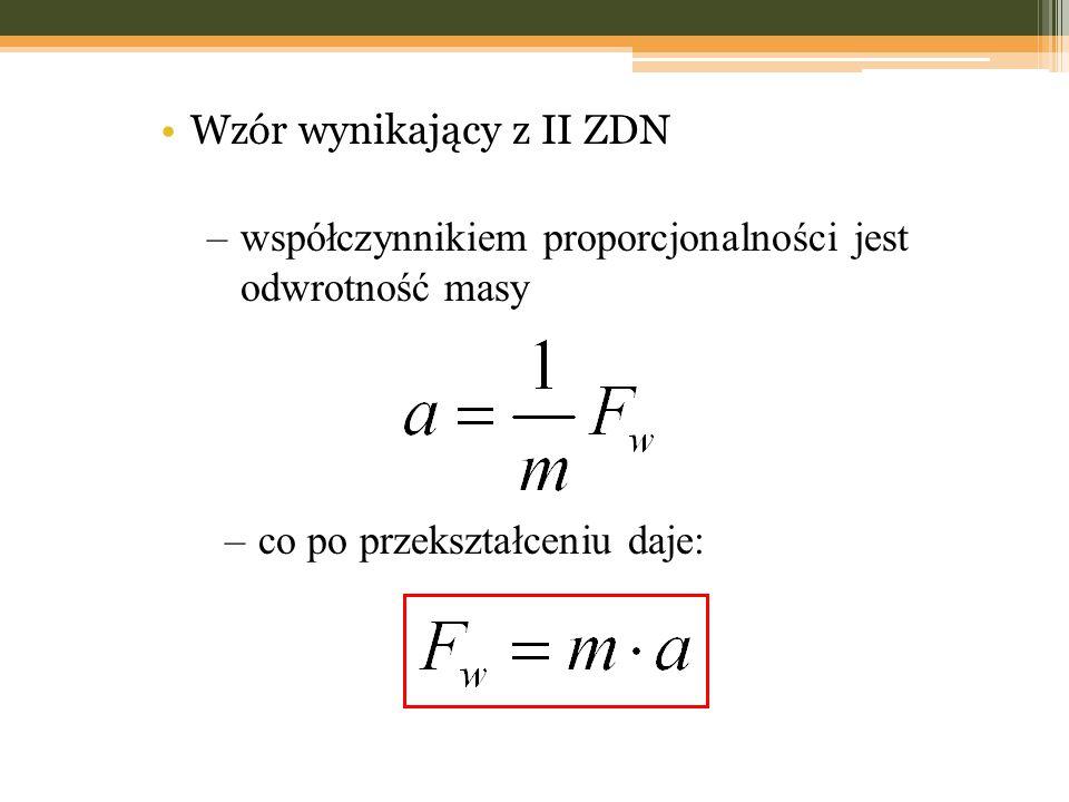 Wzór wynikający z II ZDN –współczynnikiem proporcjonalności jest odwrotność masy –co po przekształceniu daje: