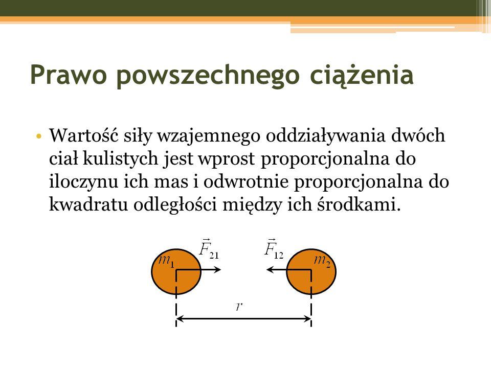 Prawo powszechnego ciążenia Wartość siły wzajemnego oddziaływania dwóch ciał kulistych jest wprost proporcjonalna do iloczynu ich mas i odwrotnie prop