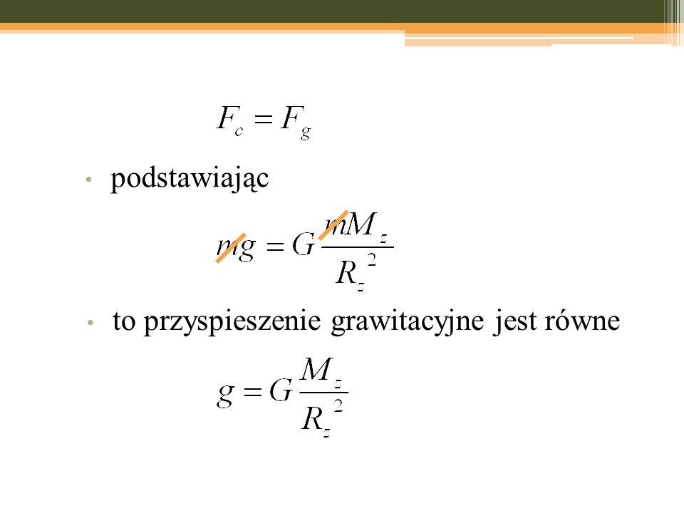 to przyspieszenie grawitacyjne jest równe podstawiając