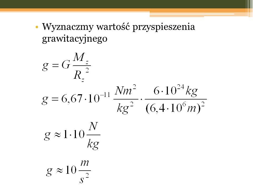 Wyznaczmy wartość przyspieszenia grawitacyjnego
