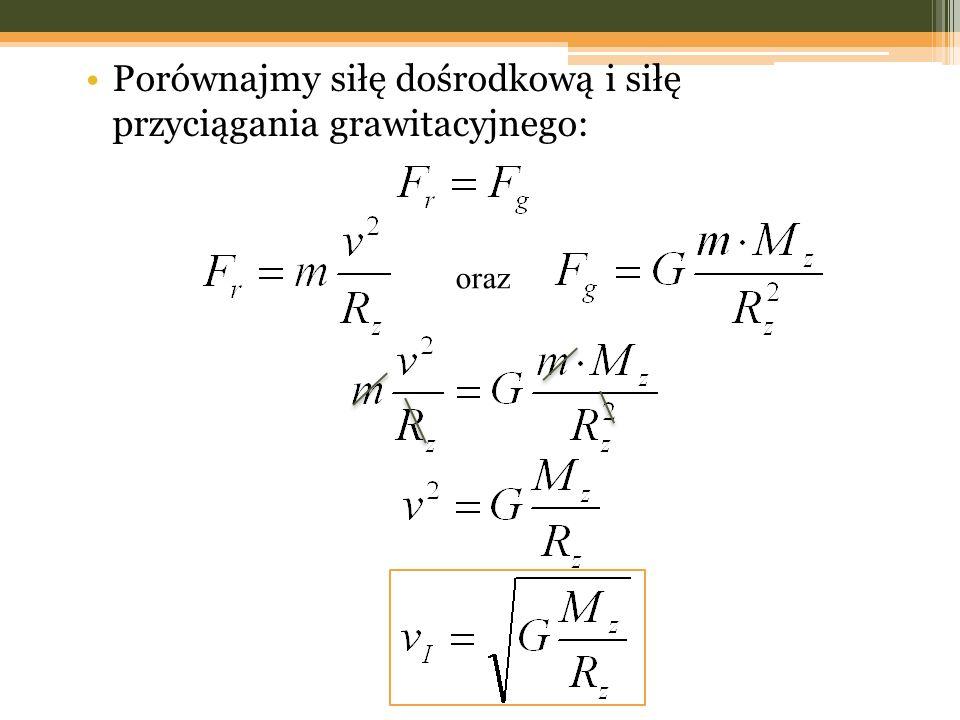 Porównajmy siłę dośrodkową i siłę przyciągania grawitacyjnego: oraz