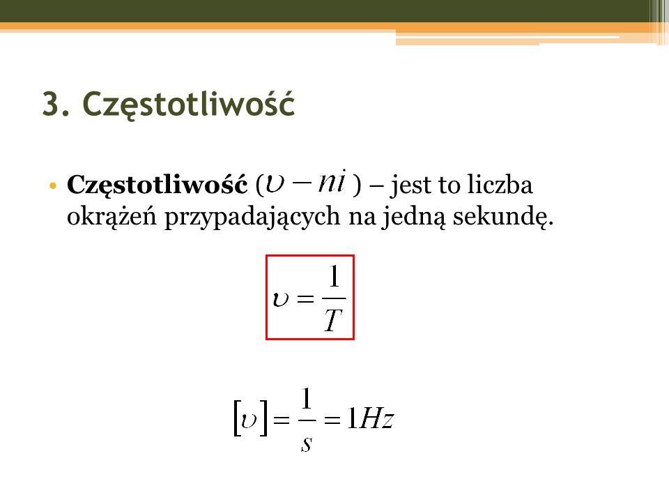 3. Częstotliwość Częstotliwość ( ) – jest to liczba okrążeń przypadających na jedną sekundę.