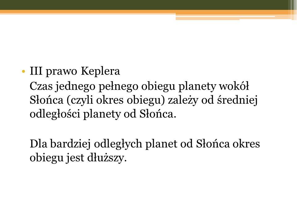 III prawo Keplera Czas jednego pełnego obiegu planety wokół Słońca (czyli okres obiegu) zależy od średniej odległości planety od Słońca. Dla bardziej