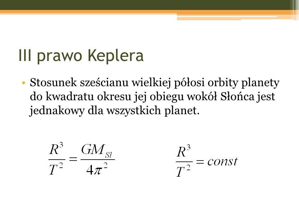 III prawo Keplera Stosunek sześcianu wielkiej półosi orbity planety do kwadratu okresu jej obiegu wokół Słońca jest jednakowy dla wszystkich planet.