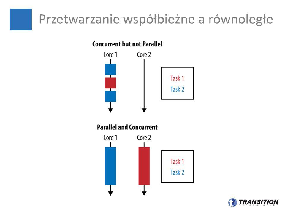 List pracownicy = Arrays.asList( new Pracownik( Adam , Kowalski , 1.5), new Pracownik( Maciej , Majewski , 2.0), new Pracownik( Jędrzej , Kaczmarek , 0.5), new Pracownik( Zofia , Szczepańska , 3.0)); double sumaCzasupracySzeregowo pracownicy.stream().mapToDouble(Pracownik::getStazPracy).sum(); double sumaCzasupracyRownloegle = pracownicy.parallelStream().mapToDouble(Pracownik::getStazPracy).sum(); double[] values = new double[100]; Arrays.parallelSetAll(values, i -> new Random().nextDouble()); Przetwarzanie równoległe oraz λ