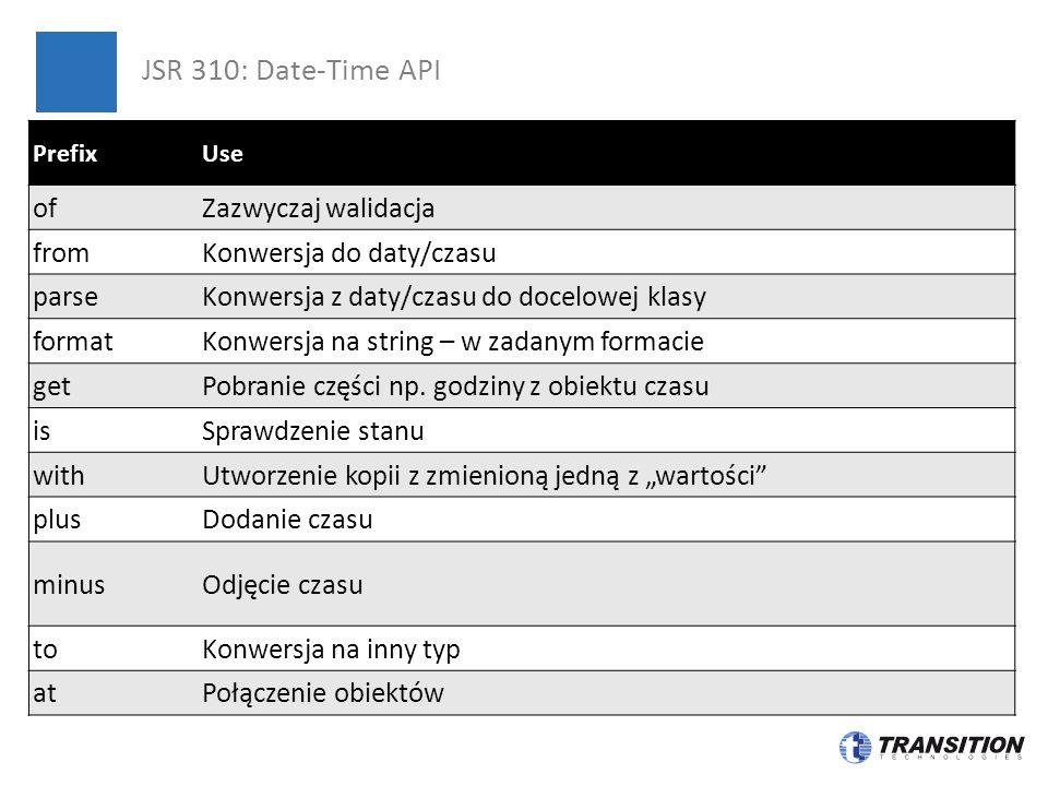 System.out.printf( Aktualna data i czas: %s%n , LocalDateTime.now()); System.out.printf( 1 lutego 2001 21:10: %s%n , LocalDateTime.of(2001, Month.FEBRUARY, 1, 21, 10)); System.out.printf( Aktualna data i czas: (z Instant): %s%n , LocalDateTime.ofInstant(Instant.now(), ZoneId.systemDefault())); System.out.printf( Za 6 miesiące będzie: %s%n , LocalDateTime.now().plusMonths(6)); DateTimeFormatter format = DateTimeFormatter.ofPattern( MMM d yyyy HH:mm ); System.out.printf( 6 miesięcy temu było: %s%n , LocalDateTime.now().minusMonths(6).format(format)); JSR 310: Date-Time API – przykład I