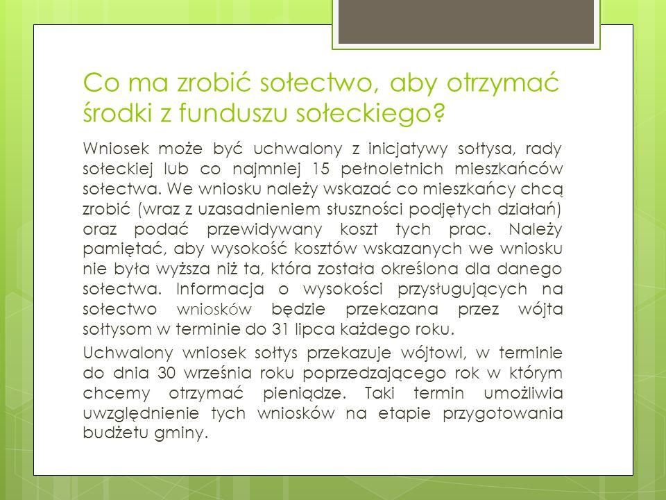Co ma zrobić sołectwo, aby otrzymać środki z funduszu sołeckiego.