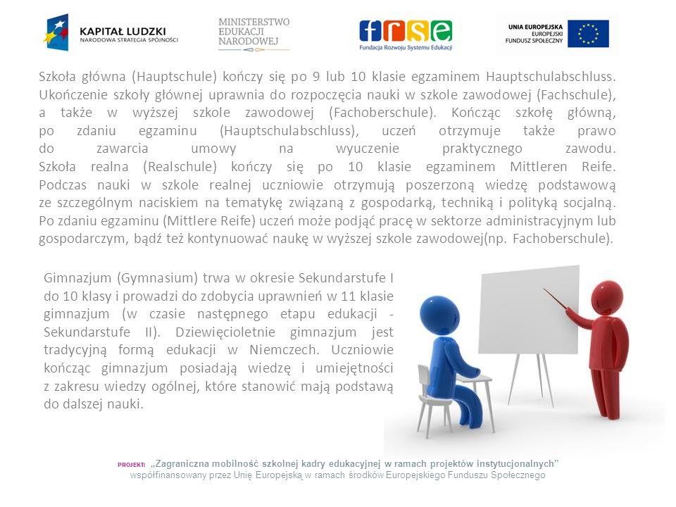 """PROJEKT: """"Zagraniczna mobilność szkolnej kadry edukacyjnej w ramach projektów instytucjonalnych współfinansowany przez Unię Europejską w ramach środków Europejskiego Funduszu Społecznego Obok tych podstawowych typów szkół istnieje jeszcze jeden istotny rodzaj placówek oświatowych."""
