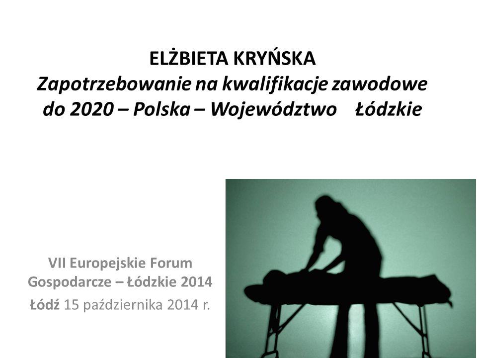 ELŻBIETA KRYŃSKA Zapotrzebowanie na kwalifikacje zawodowe do 2020 – Polska – Województwo Łódzkie VII Europejskie Forum Gospodarcze – Łódzkie 2014 Łódź 15 października 2014 r.