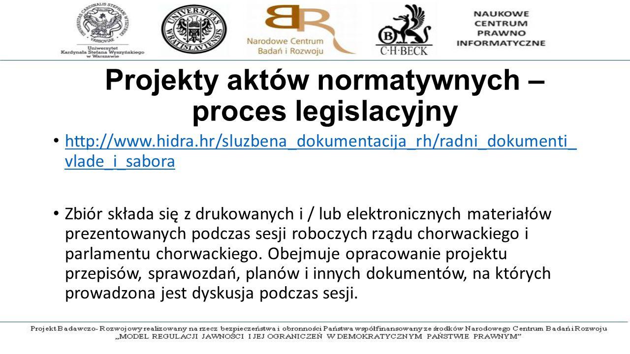 Projekty aktów normatywnych – proces legislacyjny http://www.hidra.hr/sluzbena_dokumentacija_rh/radni_dokumenti_ vlade_i_sabora http://www.hidra.hr/sluzbena_dokumentacija_rh/radni_dokumenti_ vlade_i_sabora Zbiór składa się z drukowanych i / lub elektronicznych materiałów prezentowanych podczas sesji roboczych rządu chorwackiego i parlamentu chorwackiego.