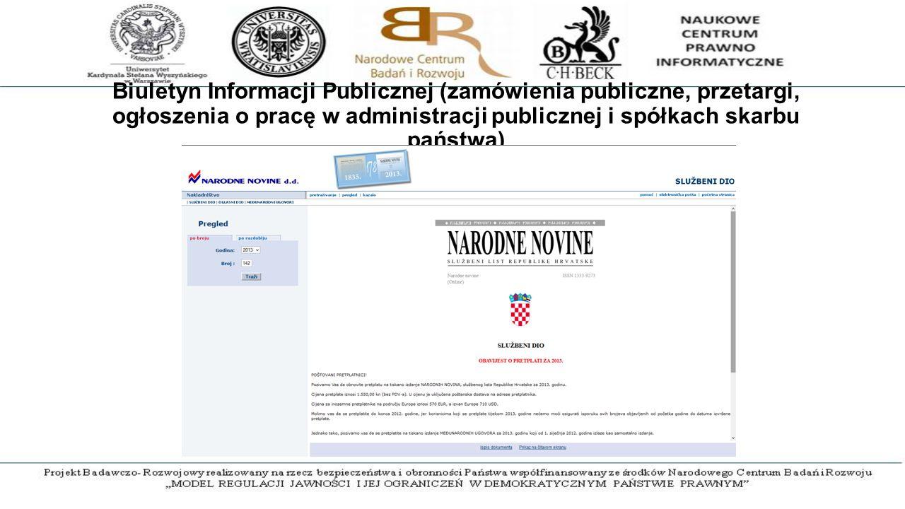 Biuletyn Informacji Publicznej (zamówienia publiczne, przetargi, ogłoszenia o pracę w administracji publicznej i spółkach skarbu państwa)